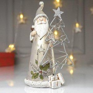 "Сувенир полистоун свет ""Дед Мороз в золотистой шубе у ёлочки - свеча"" 22х10х12 см"