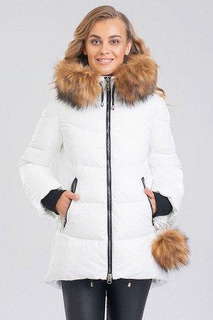 Белый Женские куртки с мехом – это не только модное приобретение, но и залог практичности, комфорта, безукоризненного образа.  Фигурный низ и слегка расклешенные рукава с трикотажными манжетами являют