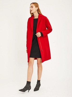 Двубортное пальто прямого силуэта на молнии
