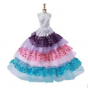 Платье белое с цветными воланами