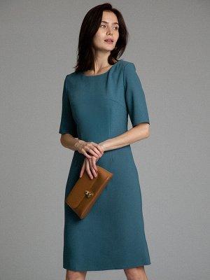 Платье Размерный ряд: 42-54 Состав ткани: вискоза55%, полиэстер45% Длина: 96 см. Описание модели Классика цвета морской волны. Приталенное платье-миди с рукавом до локтя. Повседневные образы с этой