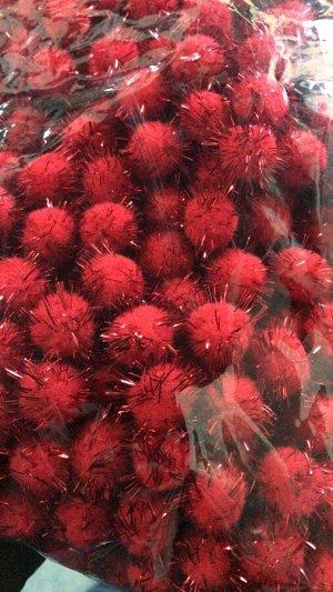 Помпоны акриловые с люрексом 2 см красный