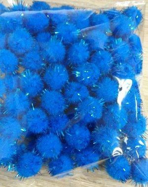 Помпоны акриловые с люрексом 1,5 см синий