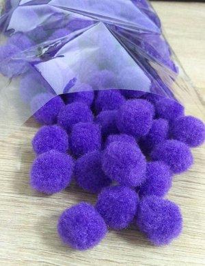 Помпоны акриловые фиолетовые 1,8 см 100шт