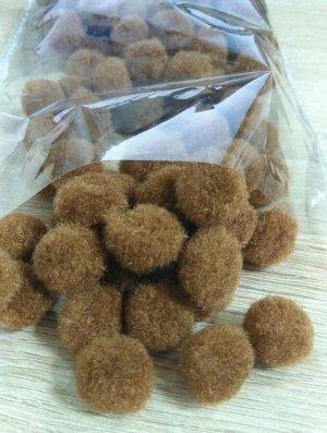 Помпоны акриловые коричневые 1,8 см 100шт