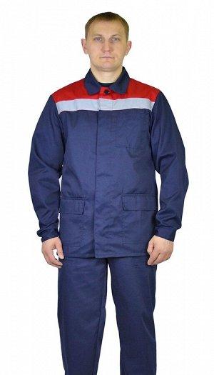 """Костюм мужской """"Верес"""" летний куртка, п/к т. синий с красной отделкой тк. Твилл"""