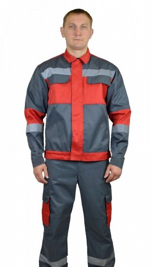 """Костюм мужской """"Спец-ЭКО""""  летний куртка, брюки т. серый с красной отделкой тк. Смесовая Моготекс"""