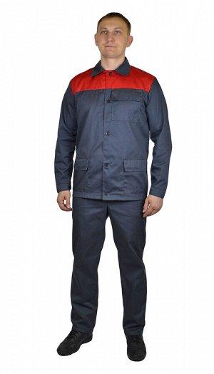 """Костюм мужской """"Стройград"""" летний куртка, брюки темно-серый с красным тк. Смесовая"""