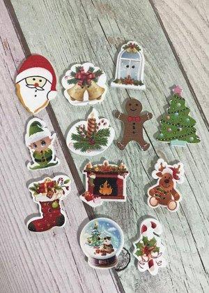 Декоративные пуговицы Новогодний микс набор 12 шт