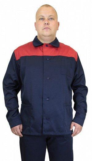 """Костюм мужской рабочий """"Аскет"""" летний  куртка,  брюки т-синий с красным тк. смесовая"""