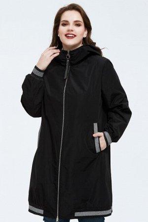 Женский демисезонный плащ с капюшоном в спортивном стиле, цвет черный