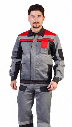 """Костюм мужской рабочий """"Респект"""" летний куртка,  п/к серый с красно- чёрной отделкой и СОП"""