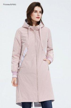 Женский демисезонный утепленный плащ с капюшоном, цвет светло-розовый