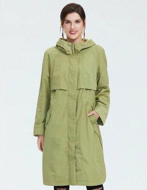 Женский демисезонный утепленный тренч/плащ с капюшоном, цвет зеленая олива