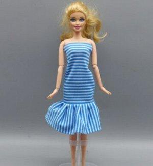 Платье в полоску голубое