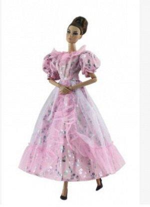 Платье светло-розовое с серебристыми узорами
