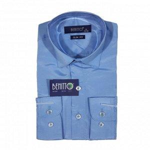 (JLB3035) Рубашка для мальчика дл.рукав Benitto (голубой)