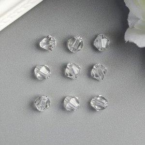 Бусины стеклянные (набор 30 шт), 6х6 мм  прозрачные