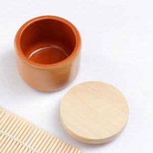 """Ёмкость для специй с деревянной крышкой """"Вятская"""" 0,1л, 6,5х6см, бежевый"""