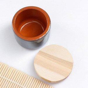 """Ёмкость для специй с деревянной крышкой """"Вятская"""" 0,1л, 6,5х6см, серый"""