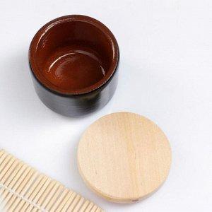 """Ёмкость для специй с деревянной крышкой """"Вятская"""" 0,1л, 6,5х6см, черный"""