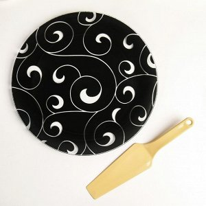 Подставка для торта «Марокко», d=30 см, с лопаткой, цвет чёрный, в подарочной упаковке