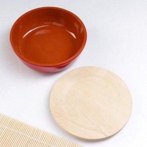 Набор для холодца 0,5 л (1 емкость с деревянной крышкой ) 17х6,5см, красный