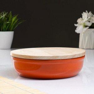 """Набор для холодца """"Вятский №1"""" (1 емкость / 1л. + 1 деревянная крышка), оранжевый"""