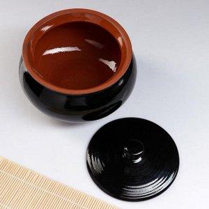 """Набор посуды """"Вятская керамика"""" 2,5л + 4х0,5л + деревянная ложка, черный"""