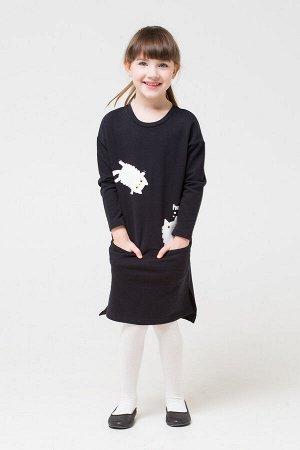 Платье Цвет: черный к271; Вид изделия: Трикотажные изделия; Полотно: Футер-петля; Рисунок: черный к271; Сезон: Осень-Зима; Коллекция: №271 Purr Однотонное платье для девочки из футера-петли. Отрезная