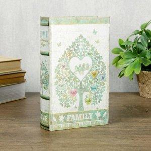 """Сейф-книга дерево шёлк """"Семейное дерево"""" 21х13х5 см"""