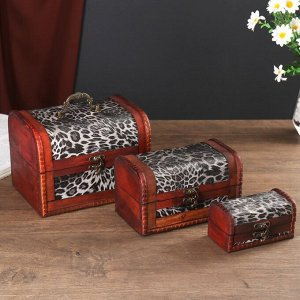 "Шкатулка сундучок ""Шкура леопарда"" набор 3 шт 14,5х19,5х15 см, 10х15х11 см, 6,5х11х8 см"