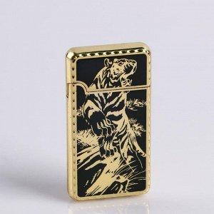 """Зажигалка газовая """"Тигр в прыжке"""", пьезо, 3х6 см, чёрная с золотом"""