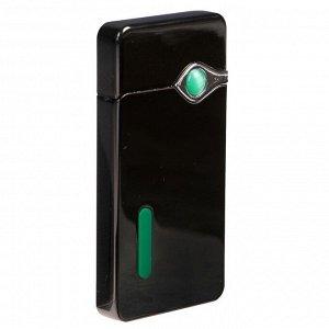 Зажигалка электронная, USB с индикатором, спираль, стальная, 7.5х12 см
