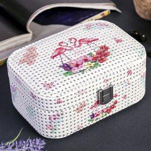 "Шкатулка кожзам для украшений ""Фламинго в цветах"" с блёстками 7,2х16,7х11,7 см"