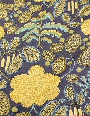 """Интерьерный хлопок """"Прохлада (цветы хаки на темно-синем)"""", ш.1,5 м, хл-100%, 250 гр/м.кв"""