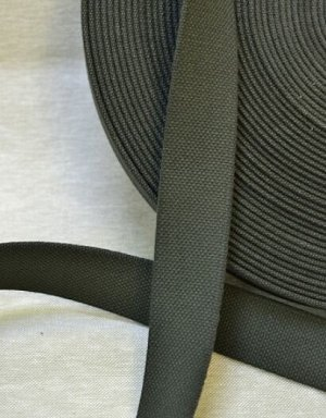 Лента ременная 35мм, хлопок-100%, цв.темно-серый хаки