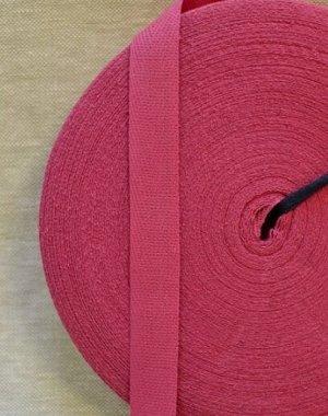 Лента киперная 18мм, хлопок-100%, цв.темно-розовый