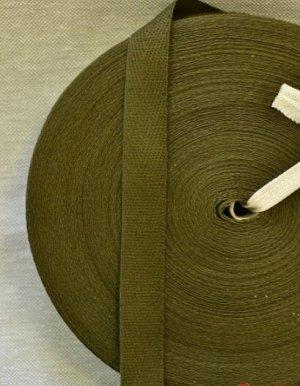 Лента киперная 18мм, хлопок-100%, цв.темно-зеленый хаки