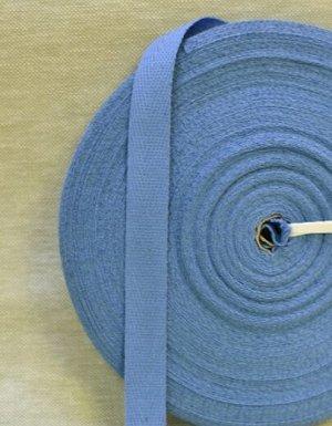 Лента киперная 17мм, хлопок-100%, цв.темно-голубая дымка