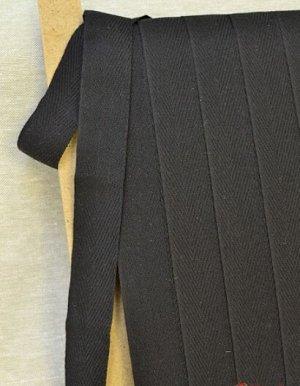 Лента киперная 30мм, хлопок-50%, п/э-50%, цв.черный с серым оттенком