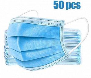 Маска защитная трехслойная взрослая упаковка 50шт