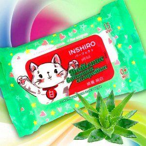Салфетки влаж. детские INSHIRO экстракт алоэ 15шт/упак. 1/100 PP627
