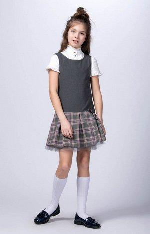 10664 Сарафан для девочек D369.03 серый/серо-розовая клетка