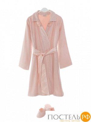 1018G11299108L Набор женский Soft cotton ROSE халат + тапочки розовый L
