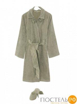 1018G11299110L Набор женский Soft cotton ROSE халат + тапочки зеленый L