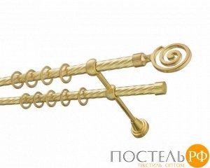 Коллекция DIY 16мм 2-х рядный карниз с витой штангой, 1,4м, Цвет: Золото глянец, Упаковка: Короб ПВХ