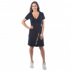 Платье с запахом  КЛП1428П1 черный