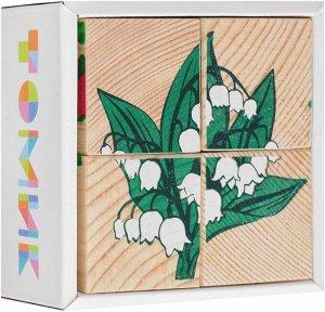 """Кубики """"Цветы"""" 4 шт. Томик"""