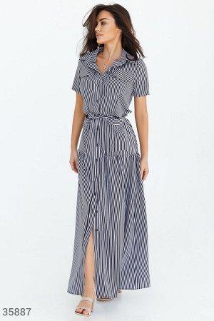 Полосатое платье-макси в рубашечном стиле